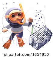 Scuba Snorkel Diver Watching A Shopping Basket Sink In The Ocean 3d Illustration