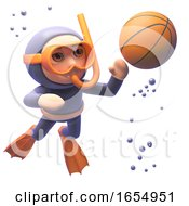 Cartoon Scuba Diver With Snorkel Looing At A Basketball Underwater 3d Illustration