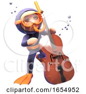 Cartoon Scuba Snorkel Diver Playing The Double Bass Underwater 3d Illustration