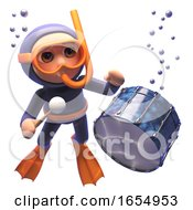 Cartoon Scuba Snorkel Diver Watching A Drum Sink In The Sea 3d Illustration