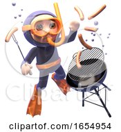 Funny Scuba Snorkel Diver Trying To Cook A Barbecue Bbq Underwater 3d Illustration