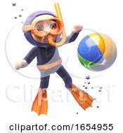 Funny Cartoon Scuba Snorkel Diver Looking At A Beachball Underwater 3d Illustration