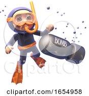 Cartoon 3d Scuba Diver Finds A Bomb Underwater 3d Illustration