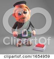 Poster, Art Print Of Concerned Scottish Man In Kilt Looks At Switch In Floor 3d Illustration