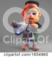 Scottish Man In Kilt Taking Pictures With His Camera 3d Illustration