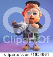 Artistic Scottish Man In Tartan Kilt Takes Photos With His Camera 3d Illustration