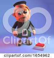 Poster, Art Print Of Undecided Scottish Man In Tartan Kilt Wants To Push The Button 3d Illustration