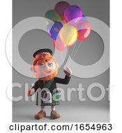 Highland Scottish Man In Kilt Going To A Party With Some Balloons 3d Illustration