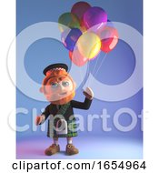 Funny Scotsman In Kilt Celebrates With Party Balloons 3d Illustration