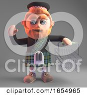 Cartoon Scottish Man In Kilt Going To The Checkout With Shopping Basket 3d Illustration