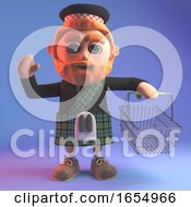 Highland Scotsman In Kilt At The Checkout With His Shopping Basket 3d Illustration