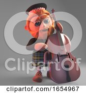 Musical Scottish Man In Kilt Playing The Double Bass 3d Illustration