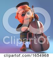 Musical Scotsman In Traditional Tartan Kilt Plays The Double Bass 3d Illustration