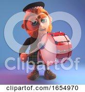 Cartoon Scotsman In Tartan Kilt Playing A Marching Drum 3d Illustration