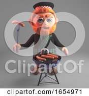 Hungry Scottish Man In Kilt Cooks Sausages On The Barbecue Bbq 3d Illustration