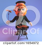 Hungry Scottish Man In Tartan Kilt Cooks Sausages On The Barbecue Bbq 3d Illustration