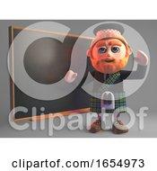 Educated Scottish Man In Kilt Teaches Class At The Chalkboard 3d Illustration