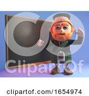 Clever Scotsman In Tartan Kilt Teaching At The Blackboard 3d Illustration