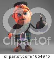 Apprehensive Scottish Man In Kilt Holding A Bomb 3d Illustration