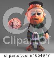 Inquisitive Scottish Man In Kilt Holding A Human Brain 3d Illustration