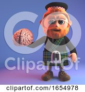 Intrigued Scottish Man In Tartan Kilt Holding A Human Brain 3d Illustration