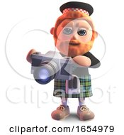 Photographically Minded Cartoon Scots Man With A Camera 3d Illustration