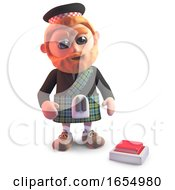 Poster, Art Print Of Indecisive Cartoon Scots Man Looks At A Button On The Floor 3d Illustration