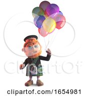Kilt Wearing Scottish Man With Party Balloons 3d Illustration by Steve Young
