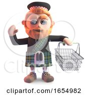 Kilt Wearing Scots Man With An Empty Shopping Basket 3d Illustration