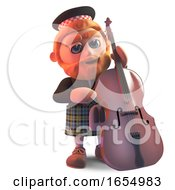 Cartoon Kilt Wearing Scottish Man Playing A Double Bass 3d Illustration by Steve Young