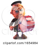 Cartoon Scots Man Wearing A Kilt And Playing A Marching Drum 3d Illustration by Steve Young