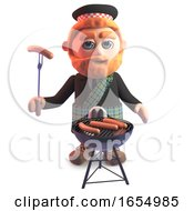 Funny Cartoon Scots Man Cooking A Barbecue 3d Illustration by Steve Young