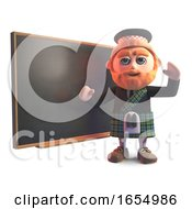 Educated Scots Man Teaching At The Blackboard 3d Illustration by Steve Young