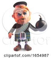 Cartoon Kilt Wearing Scots Man Holding A Bomb 3d Illustration by Steve Young