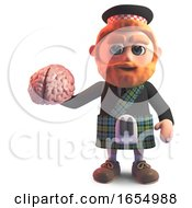 Sctos Man Wearing A Kilt And Holding A Human Brain 3d Illustration by Steve Young