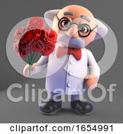 Romantic Mad Scientist With A Bouquet Of Flowers 3d Illustration