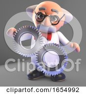 Poster, Art Print Of Clever Mad Scientist Professor Studies His Cogs And Gears 3d Illustration