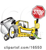 Yellow Lawn Mower Mascot Cartoon Character Facing Front And Holding A Stop Sign