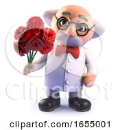Poster, Art Print Of Crazy Mad Scientist Character With A Romantic Bouquet Of Flowers 3d Illustration