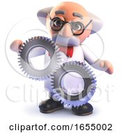 Cartoon Crazy Mad Scientist Character With Some Cog Gears 3d Illustration