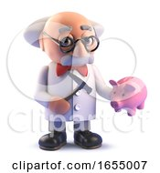 Cartoon Mad Scientist Professor Ready To Smash His Piggy Bank 3d Illustration