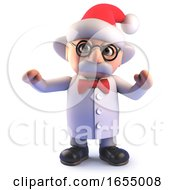 Cartoon Mad Scientist Wearing A Christmas Santa Hat 3d Illustration by Steve Young