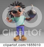 Cartoon Black Rastafarian Man Holding A Bomb 3d Illustration