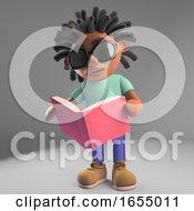 Cartoon Rastafarian African American Reading A Book 3d Illustration