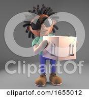 Cool Black Man With Dreadlocks Delivering A Parcel 3d Illustration