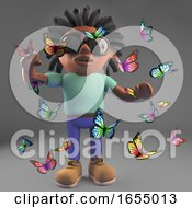 Black African American Man With Dreadlocks Surrounded By Butterflies 3d Illustration