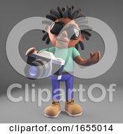 Black Man With Dreadlocks Using His New Camera 3d Illustration