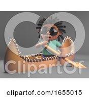 Cool Black Man With Dreadlocks Rowing His Kayak Canoe 3d Illustration