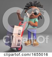Cartoon Black Man With Dreadlocks Delivering Boxes On A Hand Trolley 3d Illustration