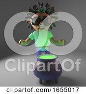Cartoon Black Man With Dreadlocks With A Cauldron Full Of Voodoo 3d Illustration